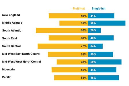 Multi-hat versus single-hat by region