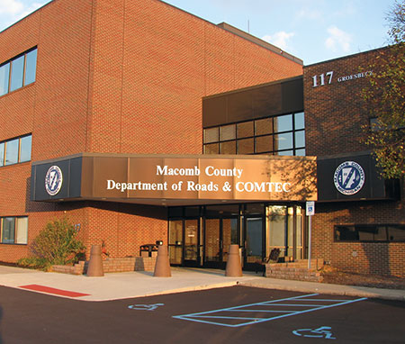 Figure 1. The Macomb County, Michigan COMTEC safety center was rebuilt from an existing structure and upgraded to modern codes, including those dealing with grounding and lightning protection. It has never suffered lightning-induced damage.