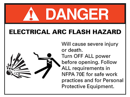 Figure 1. Arc flash hazard warning label as required by 110.16(A) of NEC 2017.