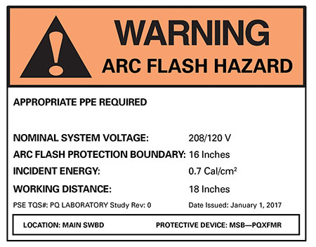 Figure 3. Example of an NFPA 70E arc-flash label.
