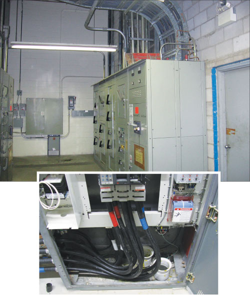 Photo 1. A picture of a distribution panel fed with single conductor cables that Rule 8-104 will limit the maximum continuous load.