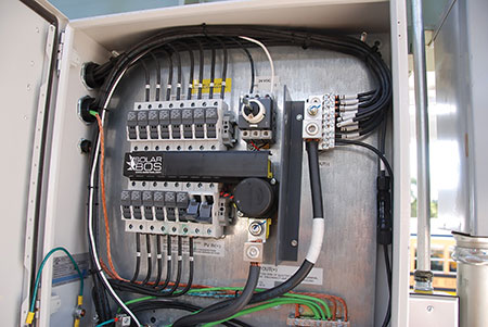 Photo 2. DC Combiners may look the same for all systems. Fuses are required in only one conductor, but as an equipment disconnect, a switch will be required in both conductors unless one is solidly grounded.