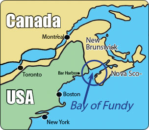 Map 1. Shows the location of the Bay of Fundy