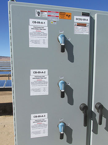 Photo 13. Appropriate externally operable disconnect switch that limits operator exposure to dangerous voltages up to 1500 V DC.