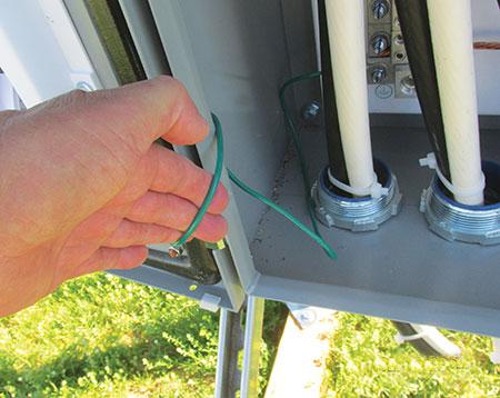 Photo 14. Bonding jumper to door is too small.