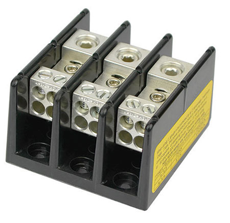 Photo 1. Power distribution blocks are often used to connect power sources from the output of the utility interactive inverter into the premises electrical systems. Photo courtesy of Eaton, Bussman Division