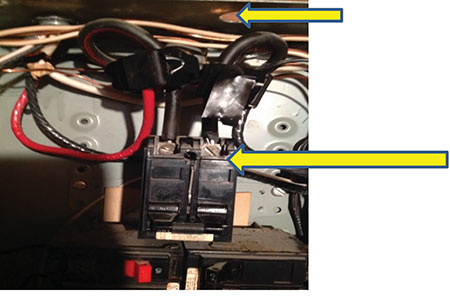 Photo 4. To be considered with this photo, total conductor length from connection to overcurrent protective device cannot exceed 3 m (10 ft), wire bending and splice fill space in the enclosure and stress on circuit breaker terminals. Photo by Matt Piantedosi, Cadmus