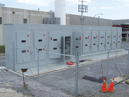 Photo 10. A high voltage switchgear, note two viewing windows in each door.