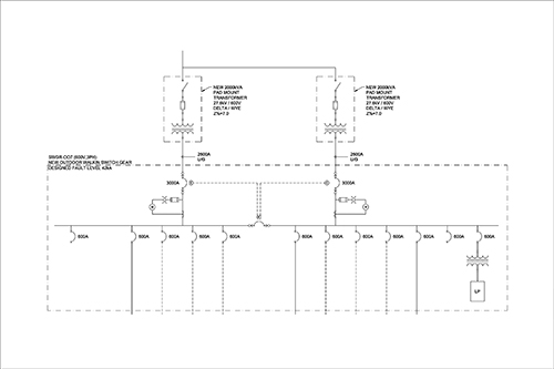 Photo 9. A single line diagram of a double ended station, that required draw-out breakers on the low voltage secondary of the transformers. Drawing courtesy of Tiltran Power Services Corp.