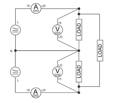 Figure 11. Single phase three wire wattmeter method