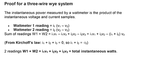 Figure 14. Proof for a three-wire wye system