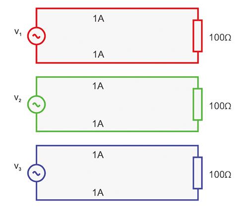 Figure 3. Three single-phase supplies – six units of loss