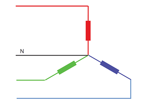 Figure 5. Wye or star connection — three-phases, four wires