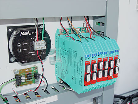 Photo 6. Intrinsically safe barriers installed in an IS control panel.