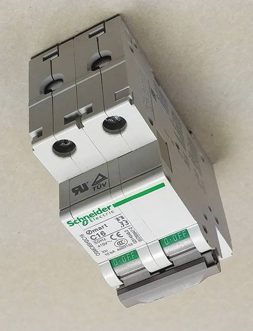 Photo 6. A Schneider Electric supplementary protector, note the location of the recognition mark on the end of the device. The marking on the side indicated an Application Code of U1