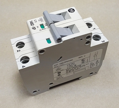Photo 8. An Allen-Bradley supplementary protector, note the marking includes an ac application code of U2 and a dc Application Code of U1.