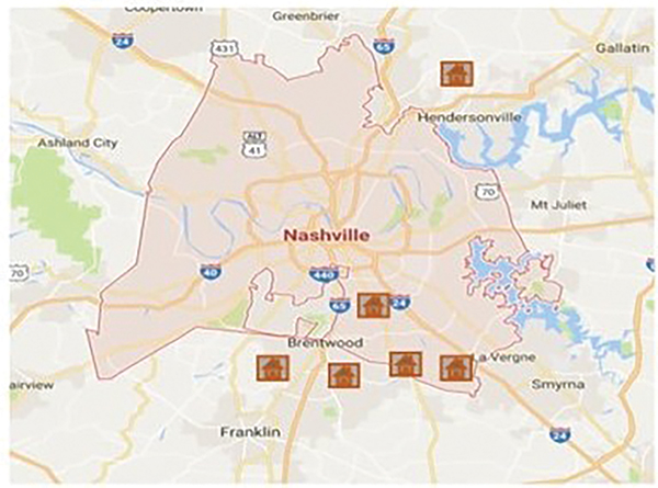 Figure 1. Identified locations of use of CCA BCBW in Metro Nashville, TN. Residences located outside of the city core.
