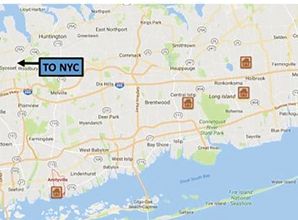 Figure 2. Identified locations of use of CCA BCBW in Long Island, NY. Residences located within 30 miles of New York City.