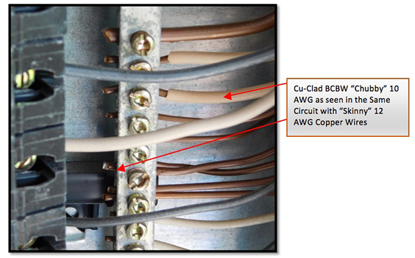 """Figure 3. Look for chubby wires. BCBW must be sized as if it were solid aluminum, making it appear """"fat"""" or """"chubby"""" in the circuit."""