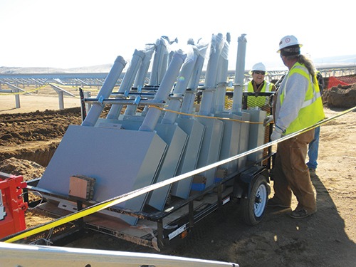 Photo 14. IBEW electricians start DC combiner installation