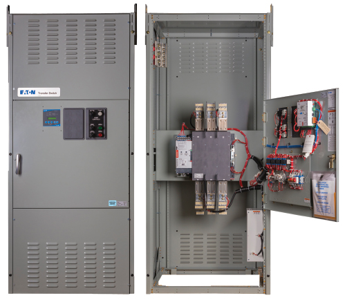 Figure 1. Transfer switch exterior and interior (Courtesy of Eaton).