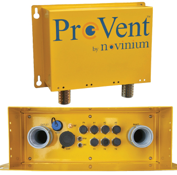The PreVent™ waterproof data logger includes connection points for a variety of sensors and communications.