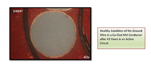Figure 5. Healthy condition of the ground wire in a Cu-Clad NM conductor after 43 years in an active circuit.