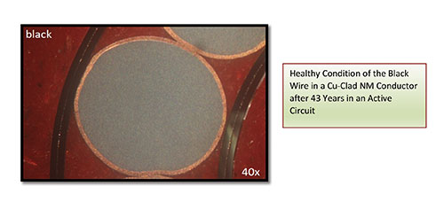 Figure 6. Healthy condition of the black wire in a Cu-Clad NM conductor after 43 years in an active circuit.