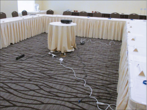 Photo 2: Daisy-chained plug strips and relocatable power taps are in high demand in most meeting facilities.
