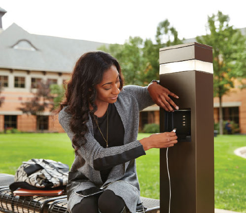 Photo 4. Outdoor Charging Station, which is NEMA 3R rated for outdoor use, includes standard power outlets and USB outlets.