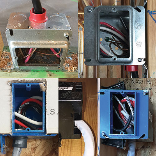Photo 1: Several examples of range rough connection boxes. Cable connectors have been used properly in three of these examples. In the fourth example, we see the side view and front view of a cable that is installed directly into the box. In this case you have to verify the box is listed for the size of cable being used. Most switch/receptacle boxes cable entrance locations are not properly sized for larger cables.
