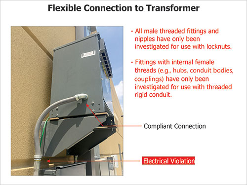 Figure 2. Flexible connection to transformer