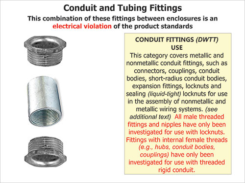 Figure 4. The combination of these fittings between enclosures is an electrical violation of the product standards.