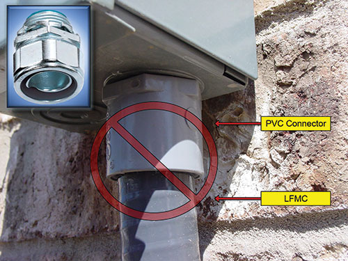 Photo 8. An illustration showing an incorrect installation. The correct fitting is in the upper left-hand corner.
