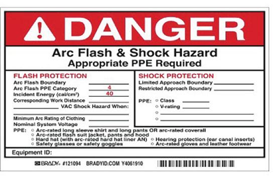 Figure 2. Arc Flash & Shock Hazard Warning